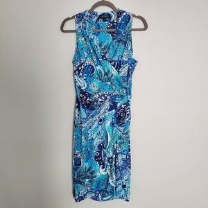 Lauren Ralph Lauren Blue Print Faux Wrap Dress